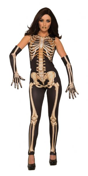 Ladies Lady Bones Costume Fancy Dress Costume